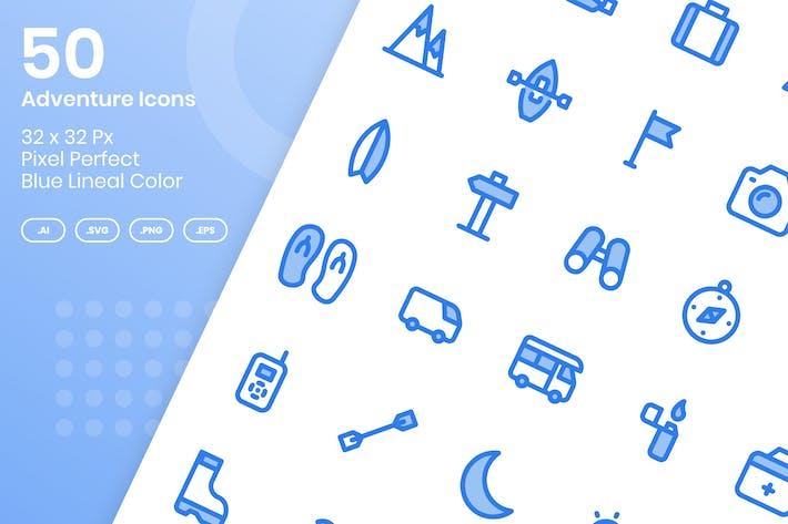 50 Adventure Icons Set - Blue Lineal Color
