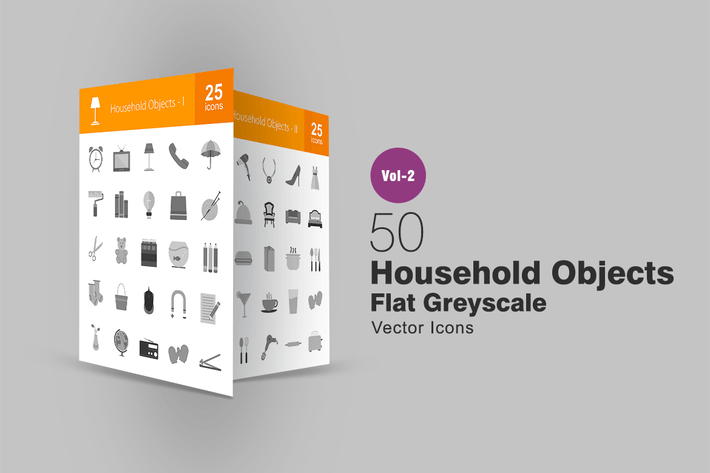 Thumbnail for 50 Household Objects Greyscale Icons