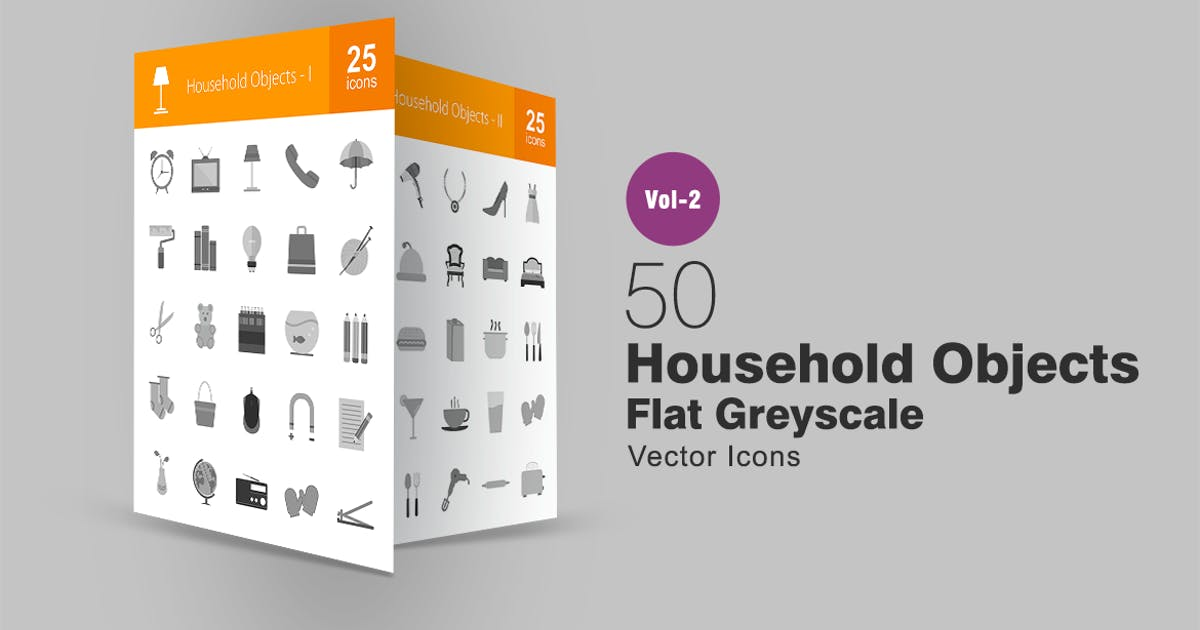 Download 50 Household Objects Greyscale Icons by IconBunny