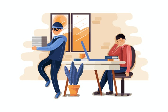 Thumbnail for Stealing documents crime illustration concept