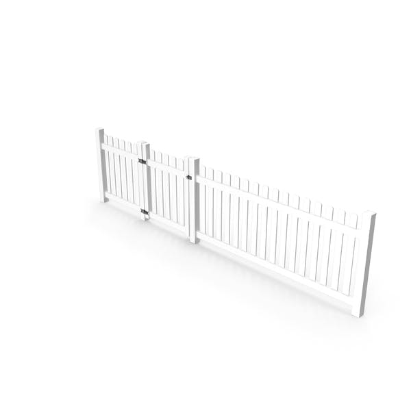 White Picked Fence Section