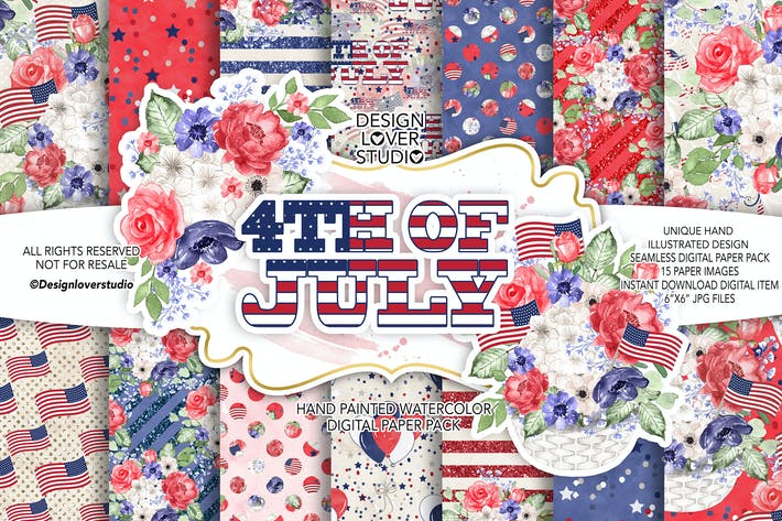 Thumbnail for 4th of July digital paper pack