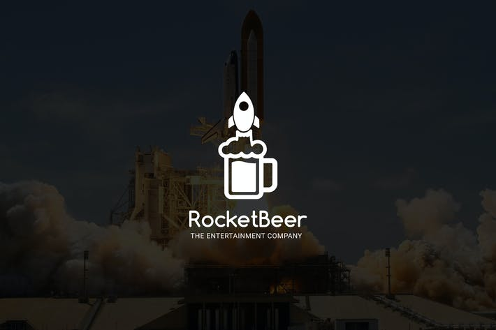 Thumbnail for RocketBeer : Negative Space Rocket Logo