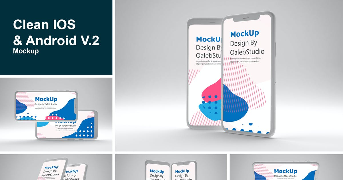 Download Clean IOS & Android V.2 Mockup by QalebStudio