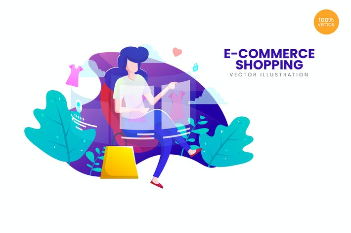 Cover Image For E-Commerce Shopping Vector Illustration Concept
