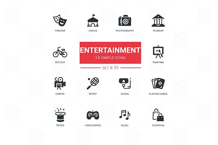 Thumbnail for Entertainment - line design icons set