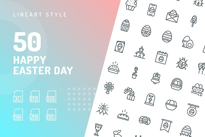 Thumbnail for Happy Easter Day Line Icons