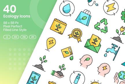 40 Ökologie-Icons Set - gefüllte Linie