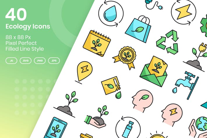 Thumbnail for 40 Ecology Icons Set - Filled Line