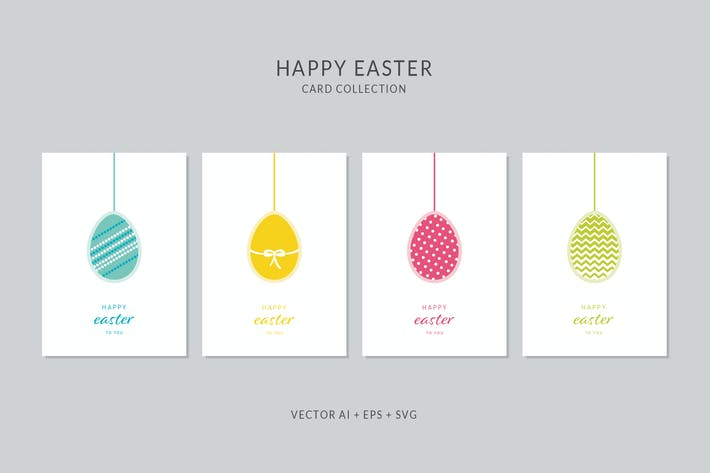 Thumbnail for Happy Easter Vector Card Set