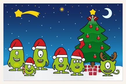 Monster Family celebrando la Navidad