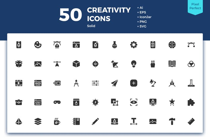 Thumbnail for 50 Creativity Icons (Solid)