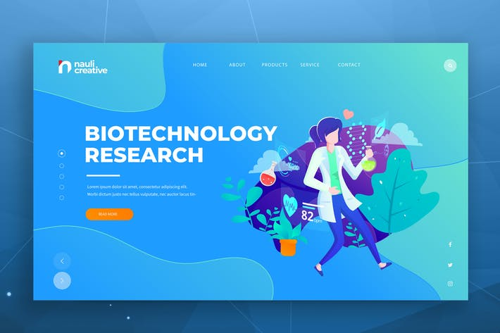 Thumbnail for Biotechnology Web PSD and AI Vector Template