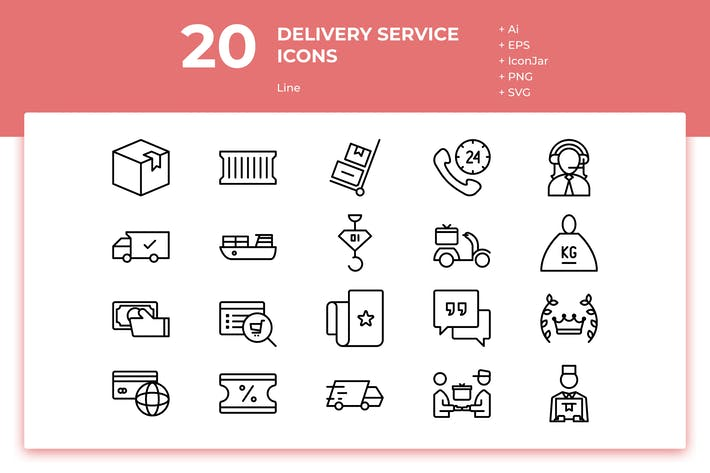 Thumbnail for 20 Delivery Service Icons (Line)