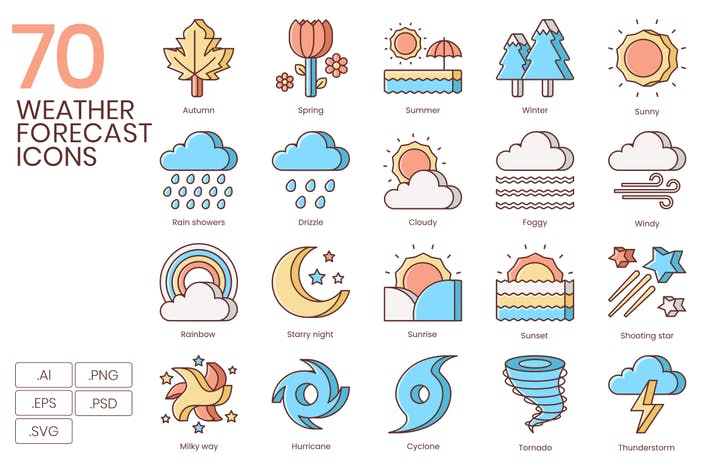 Thumbnail for 70 Weather Forecast Line Icons