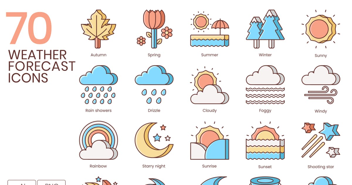 Download 70 Weather Forecast Line Icons by Krafted