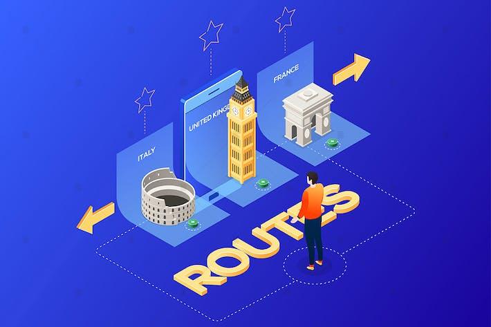 Thumbnail for Выберите маршрут - изометрическая иллюстрация