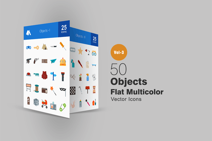 Thumbnail for 50 Objects Flat Multicolor Icons