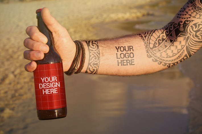 Cover Image For Beach Beer Tattoo Style   Logo