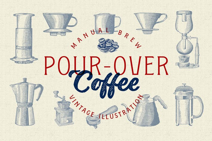 Thumbnail for Pour Over - Coffee Illustration Vintage
