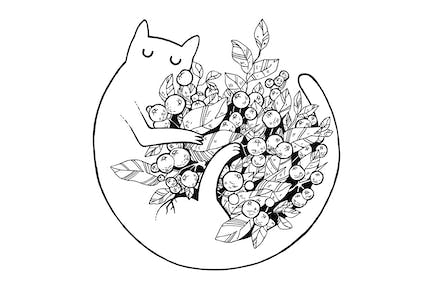 Cat with Flowers Scratchboard Illustration