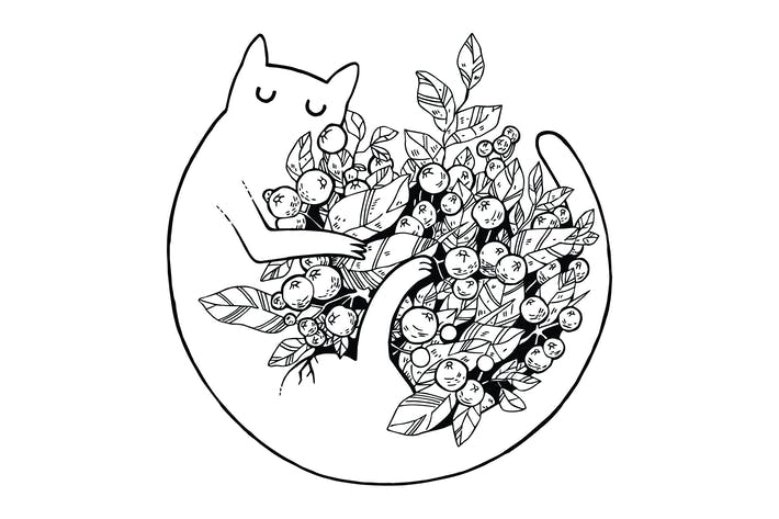 Thumbnail for Cat with Flowers Scratchboard Illustration