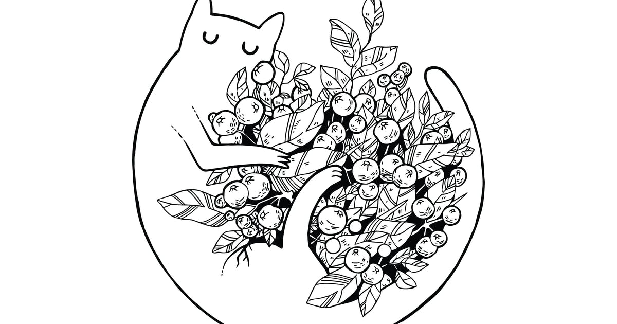 Cat with Flowers Scratchboard Illustration by polshindanil