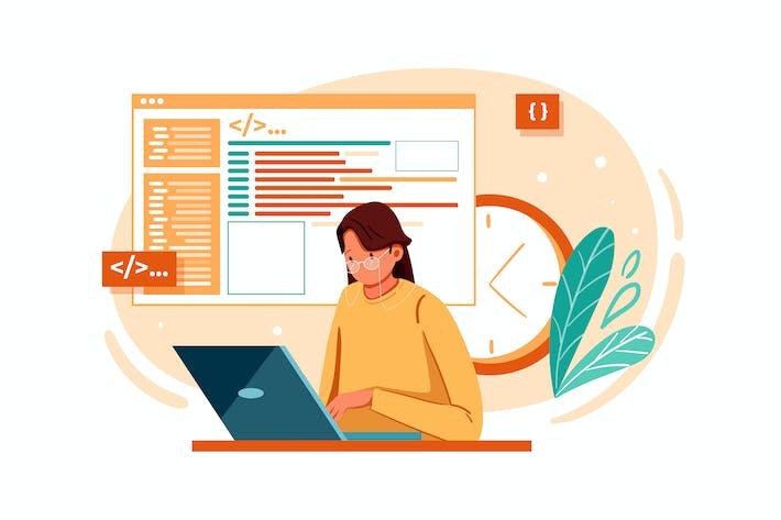 Developer coding website Illustration concept