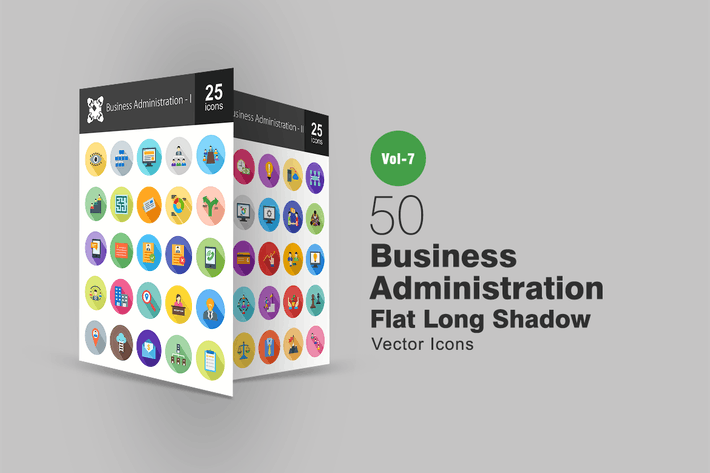 Thumbnail for 50 Business Administration Flat Shadowed Icons