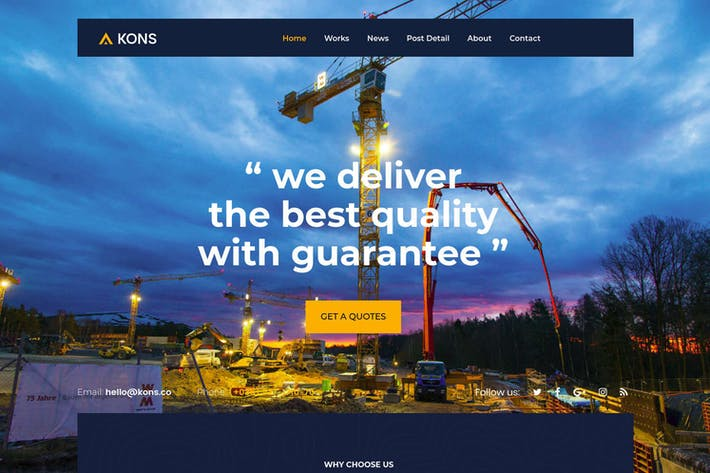 Cover Image For Kons - Construction and Building Drupal 8 Theme