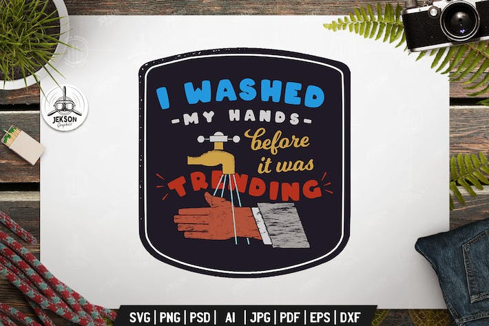 Thumbnail for Wash Your Hands, Retro Vector Badge, Vintage Label