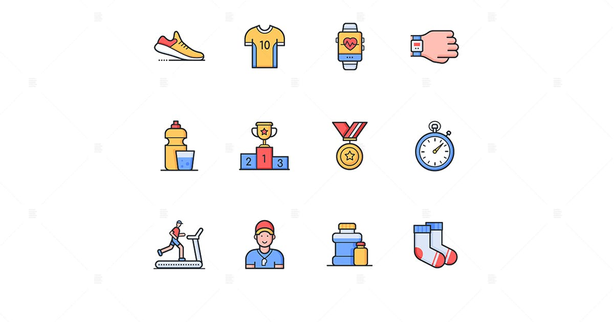 Download Running - modern line design style icons set by BoykoPictures
