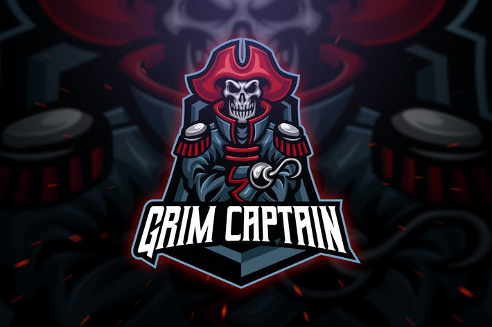 Thumbnail for Grim Captain Sport and Esport Logo Template