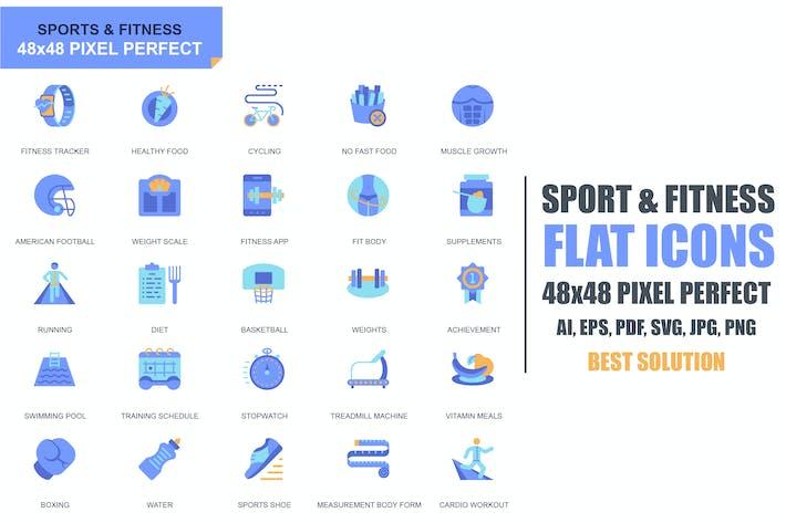 Простой набор Спорт и фитнес плоские Иконки