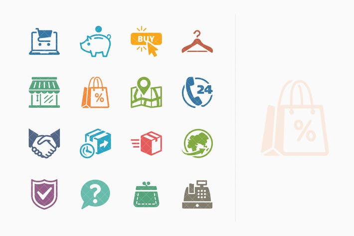 Thumbnail for E-Commerce Icons Set 5 - Farbige Serie