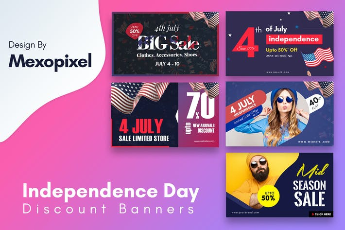 Thumbnail for Independence Day Discount banners