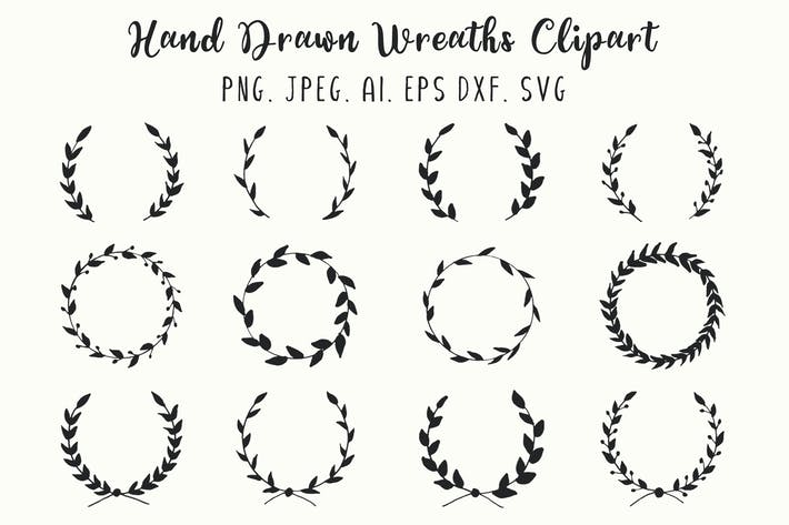 Thumbnail for 12 Hand Drawn Wreaths Clipart