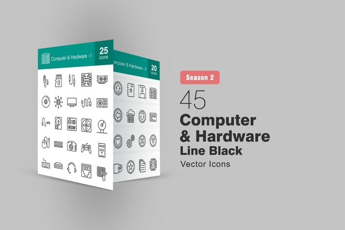Thumbnail for 45 Computer & Hardware Line Icons Season II