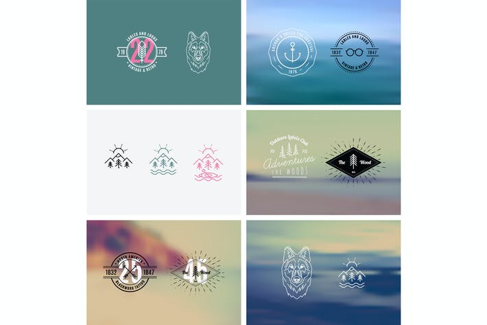Cover Image For Trendy Retro Vintage Insignias with a blurred back