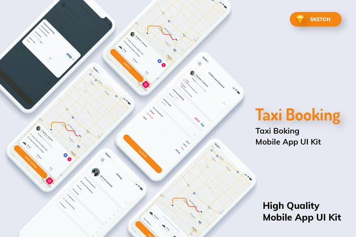 Thumbnail for Taxi Booking Mobile App Light Version (SKETCH)