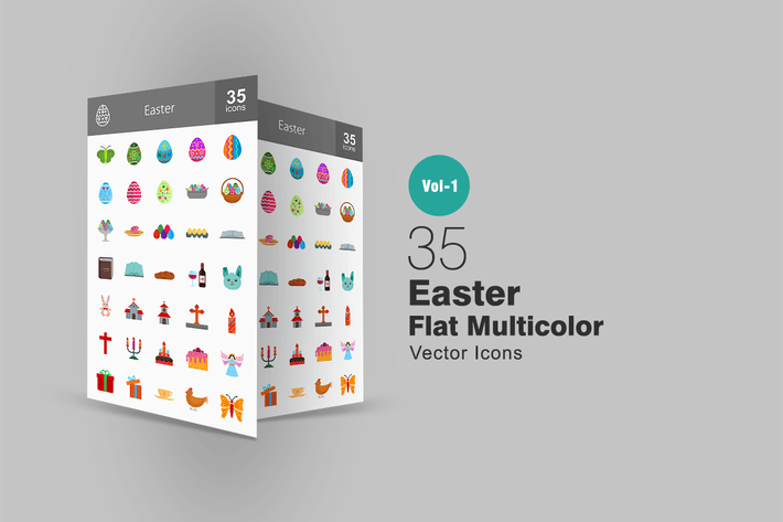 Thumbnail for 35 Easter Flat Multicolor Icons