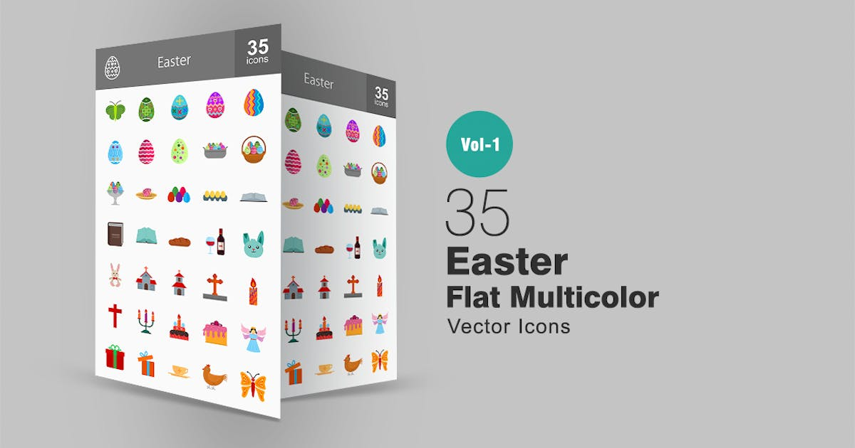 Download 35 Easter Flat Multicolor Icons by Unknow