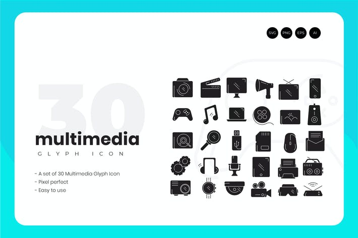 Thumbnail for 30 Multimedia Glyph Icons Set