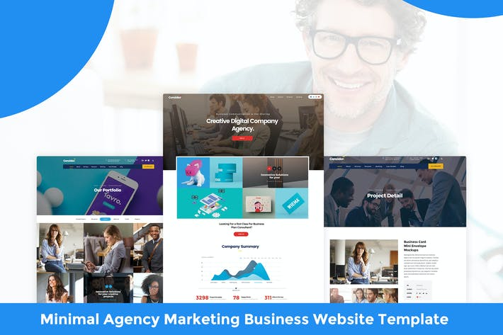 Thumbnail for Minimal Agency Marketing Business Website Template