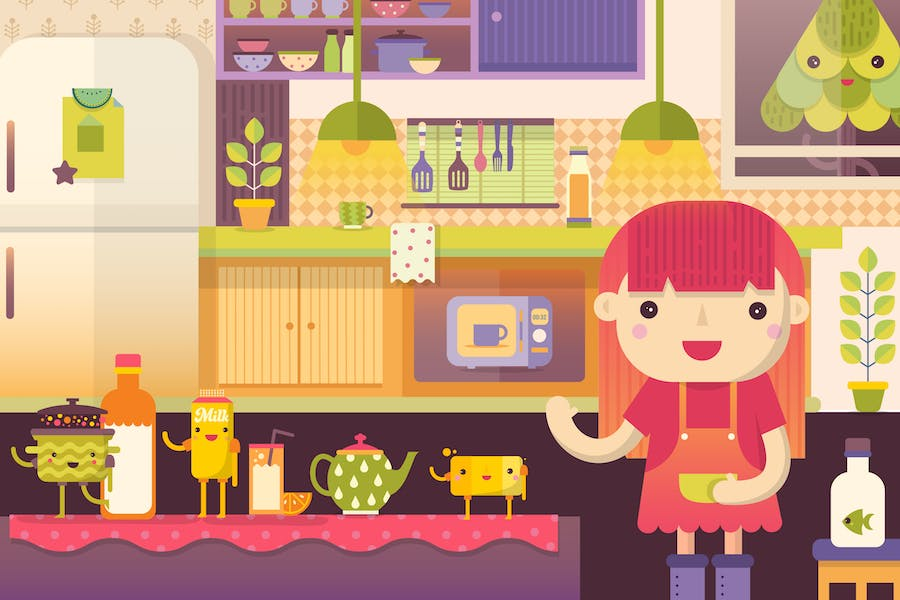 Kitchen Scene With Cute Food Characters