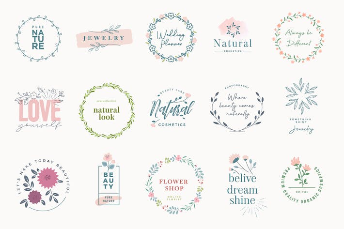 Thumbnail for Set of elegant badges for beauty