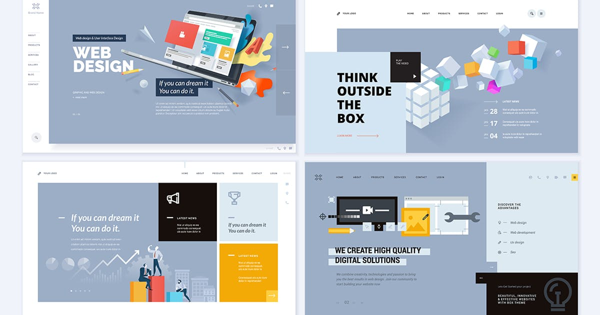 Download Set of creative website template designs by PureSolution