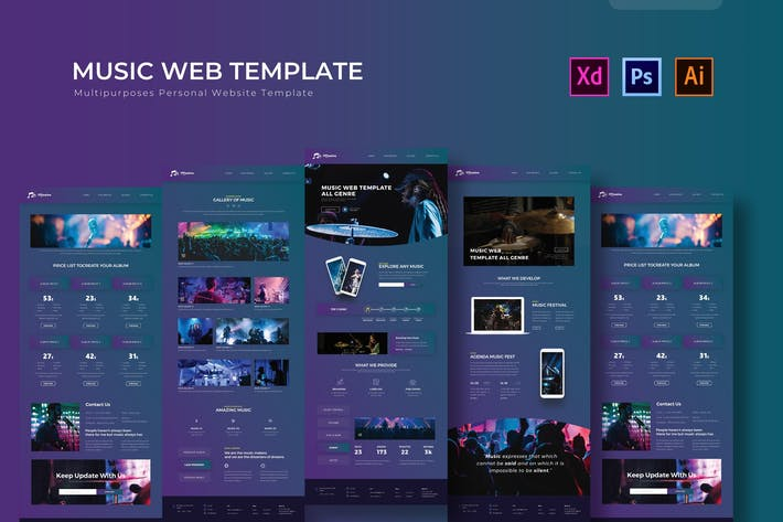Thumbnail for Music | PSD Web Template