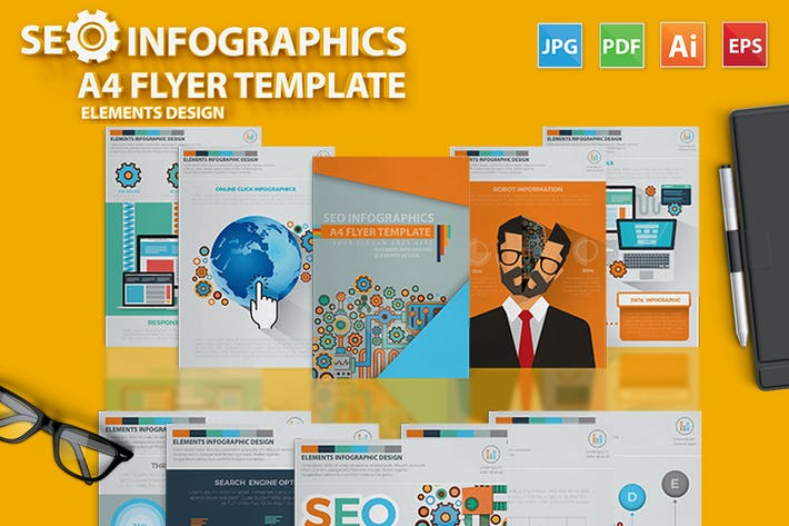Cover Image For SEO Infographic Elements Design