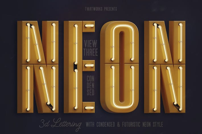 Thumbnail for Condensed Neon 3D Lettering View 3